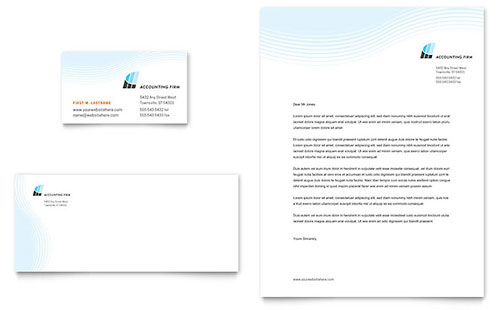 Accounting Firm Business Card & Letterhead Template - Microsoft Office