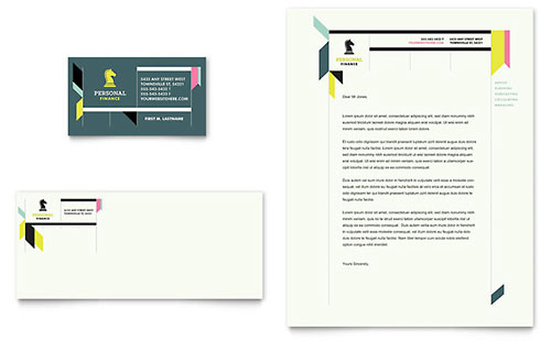 Personal Finance Business Card & Letterhead Template - Microsoft Office