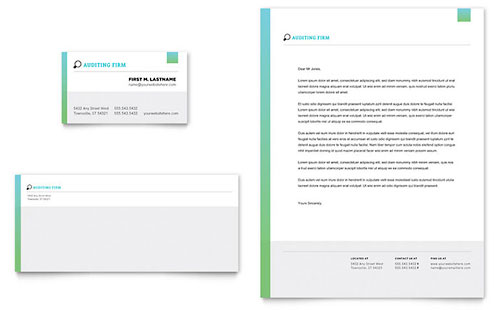 Auditing Firm Business Card & Letterhead Template - Word & Publisher