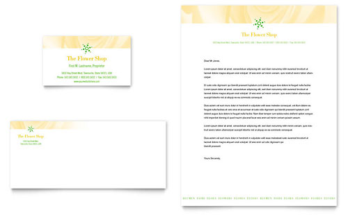 Florist Shop Business Card & Letterhead Template - Microsoft Office