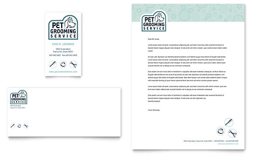 Pet Grooming Service Business Card & Letterhead Template - Microsoft Office