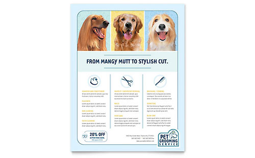 Pet Grooming Service Flyer Template - Microsoft Office