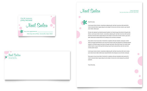 Nail Salon Business Card & Letterhead Template - Microsoft Office