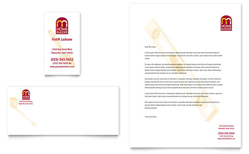 Home Builder & Contractor Business Card & Letterhead Template - Microsoft Office
