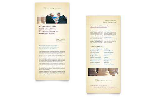 Attorney & Legal Services Rack Card Template - Microsoft Office