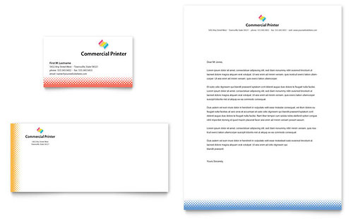 Commercial Printer Business Card & Letterhead Template - Microsoft Office
