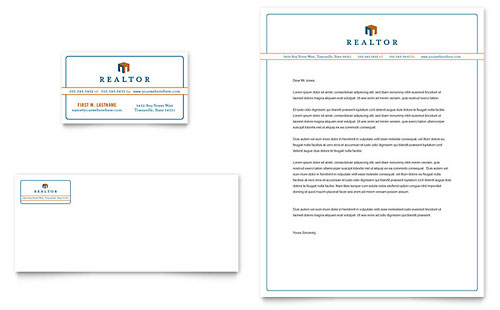 Real Estate Agent Business Card & Letterhead Template - Microsoft Office