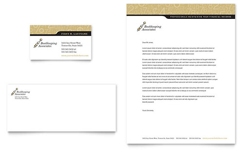 Bookkeeping & Accounting Services Business Card & Letterhead Template - Microsoft Office
