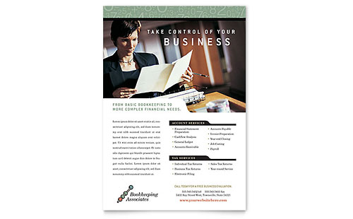 Bookkeeping & Accounting Services Flyer Template - Microsoft Office