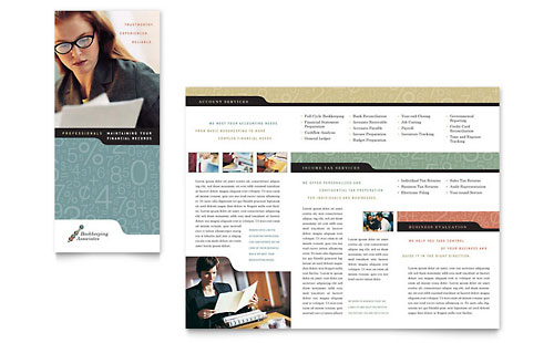 Bookkeeping & Accounting Services Tri Fold Brochure Template - Microsoft Office