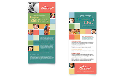 Non Profit Association for Children Rack Card Template - Microsoft Office
