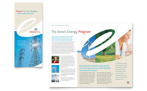Utility & Energy Company Tri Fold Brochure Template - Microsoft Office
