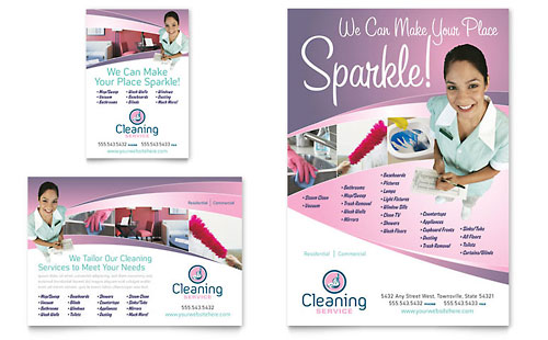 House Cleaning & Maid Services Flyer & Ad Template - Microsoft Office