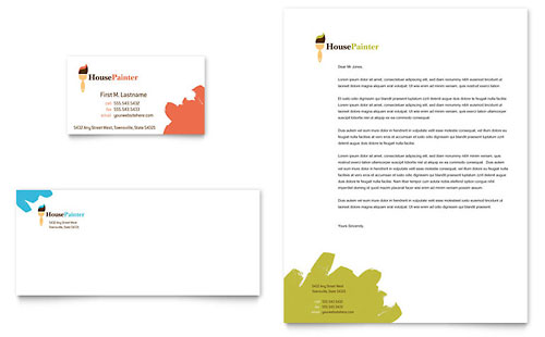 Painter & Painting Contractor Business Card & Letterhead Template - Microsoft Office