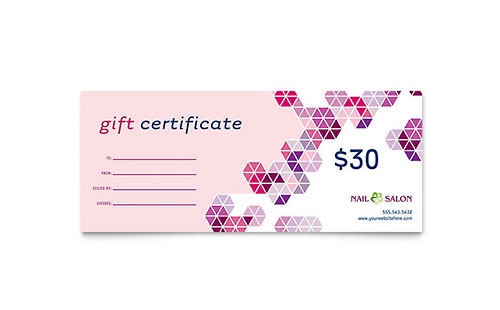 Nail Salon Gift Certificate Template - Microsoft Office