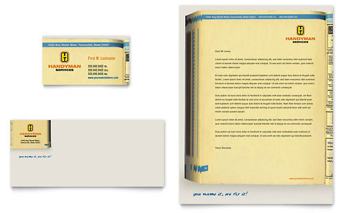 Home Repair Services Business Card & Letterhead Template - Microsoft Office
