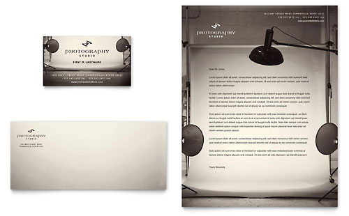 Photography Studio Business Card & Letterhead Template - Microsoft Office