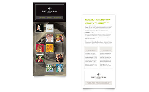 Photography Studio Rack Card Template Design