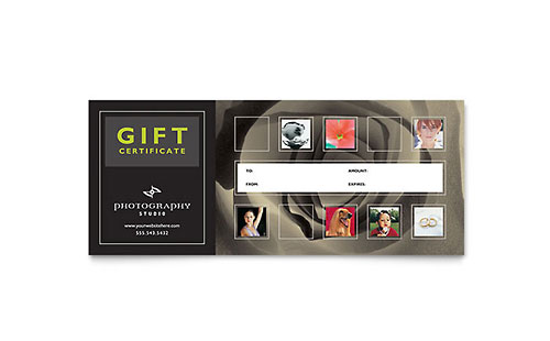 Photography Studio Gift Certificate Template - Microsoft Office