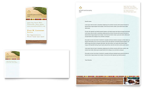 Health & Beauty Spa Business Card & Letterhead Template - Microsoft Office