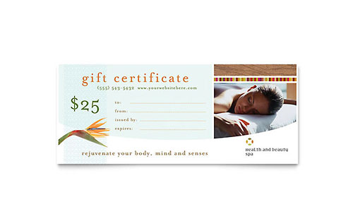 Health & Beauty Spa Gift Certificate Template - Microsoft Office