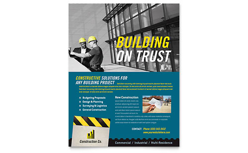 Industrial & Commercial Construction Flyer Template - Microsoft Office