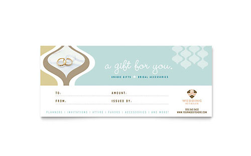 Wedding Store  Supplies Gift Certificate Template  Word  Publisher