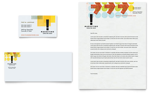 Marketing Consultant Business Card & Letterhead Template - Microsoft Office