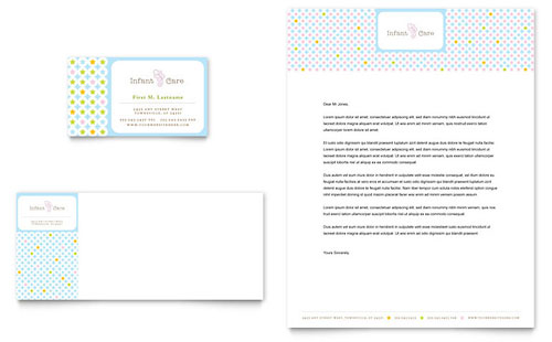 Infant Care & Babysitting Business Card & Letterhead Template - Microsoft Office