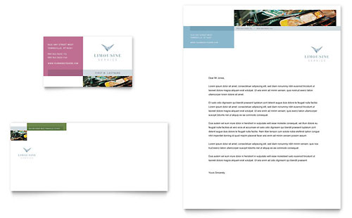 Limousine Service Business Card & Letterhead Template - Microsoft Office