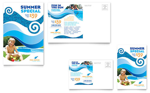 Swimming Pool Cleaning Service Postcard Template - Microsoft Office