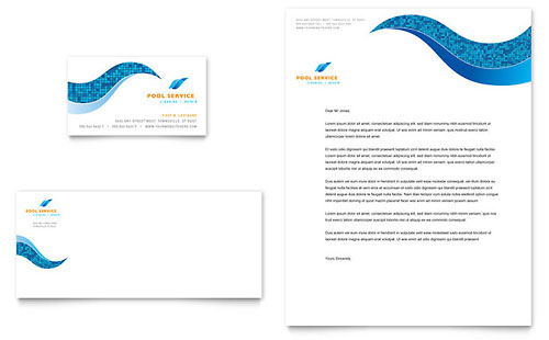 Swimming Pool Cleaning Service Business Card & Letterhead Template - Microsoft Office