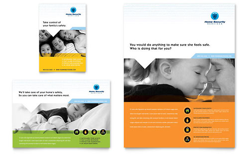 Home Security Systems Flyer & Ad Template - Microsoft Office