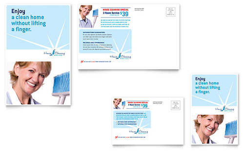 House Cleaning & Housekeeping Postcard Template - Microsoft Office