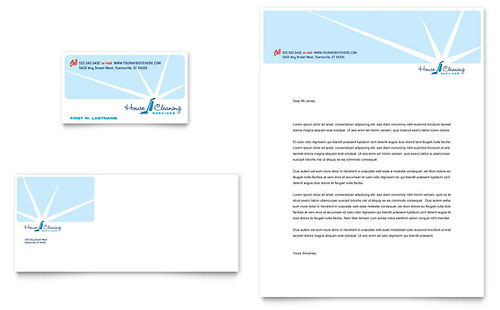 House Cleaning & Housekeeping Business Card & Letterhead Template - Microsoft Office