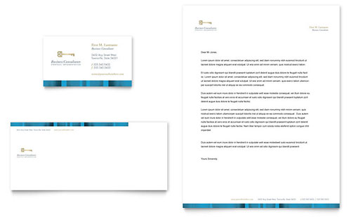 Small Business Consulting Business Card & Letterhead Template - Microsoft Office