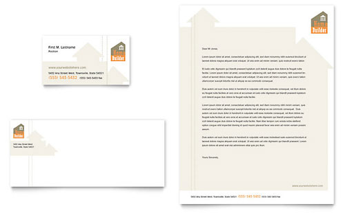 Home Building Carpentry Business Card & Letterhead Template - Microsoft Office