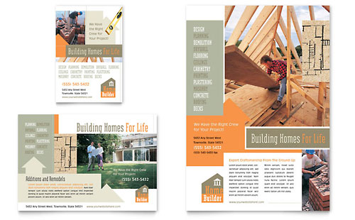 Home Building Carpentry Flyer & Ad Template - Microsoft Office