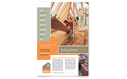 Home Building Carpentry Flyer Template - Microsoft Office