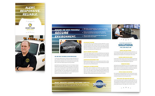 Security guard tri fold brochure template word publisher for Tri fold brochure template word 2010