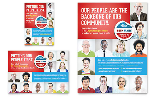Political Candidate Flyer & Ad Template - Microsoft Office