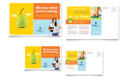 Weight Loss Clinic Postcard Template - Microsoft Office