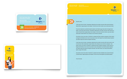 Weight Loss Clinic Business Card & Letterhead Template - Microsoft Office