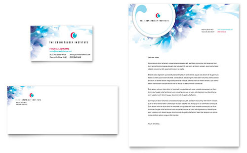 Cosmetology Business Card & Letterhead Template - Microsoft Office