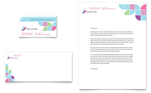 Medical Spa Business Card & Letterhead Template Design