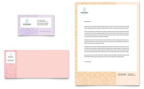 Massage Business Card & Letterhead Template - Microsoft Office
