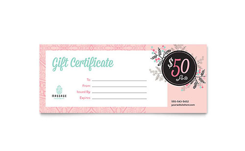 Massage Gift Certificate Template - Microsoft Office