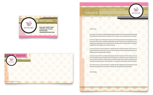 Hairstylist Business Card & Letterhead Template - Microsoft Office