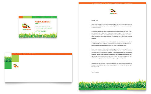 Lawn Maintenance Business Card & Letterhead Template - Microsoft Office