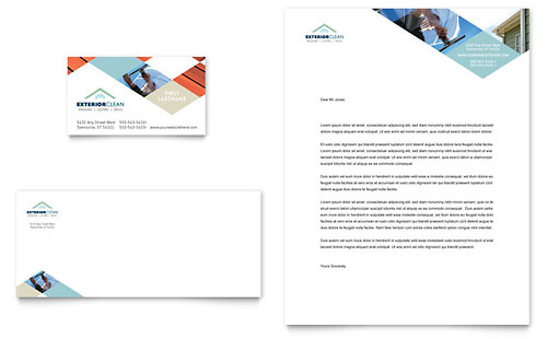 Window Cleaning & Pressure Washing Business Card & Letterhead Template - Microsoft Office